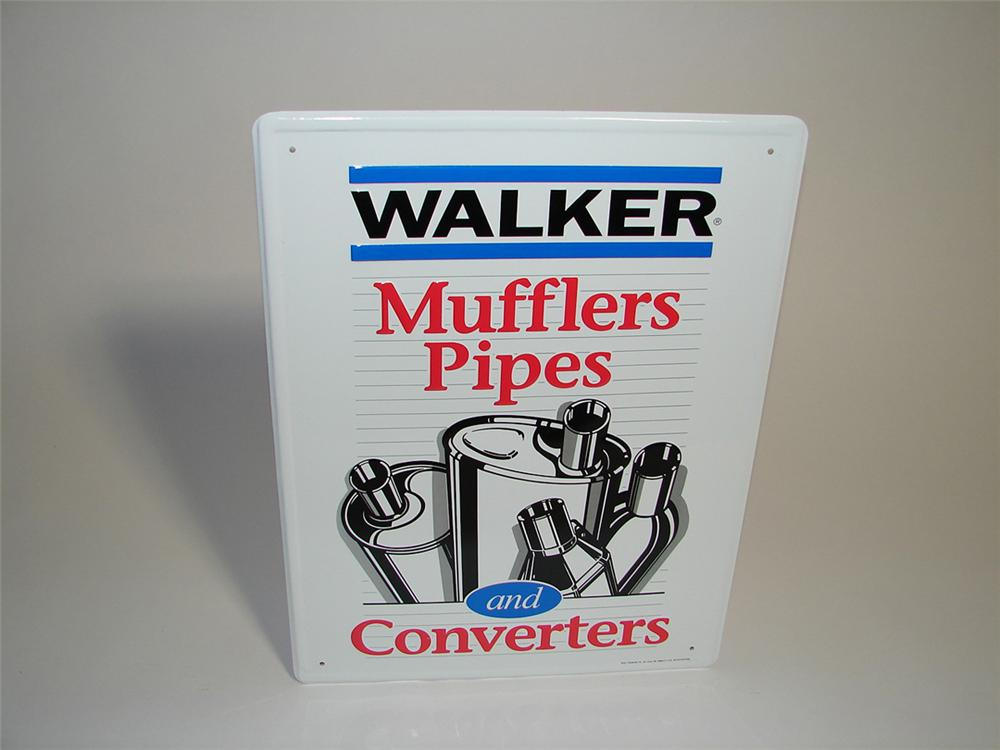 N.O.S. Walker Mufflers, Pipes and Converters embossed tin garage sign. - Front 3/4 - 101918
