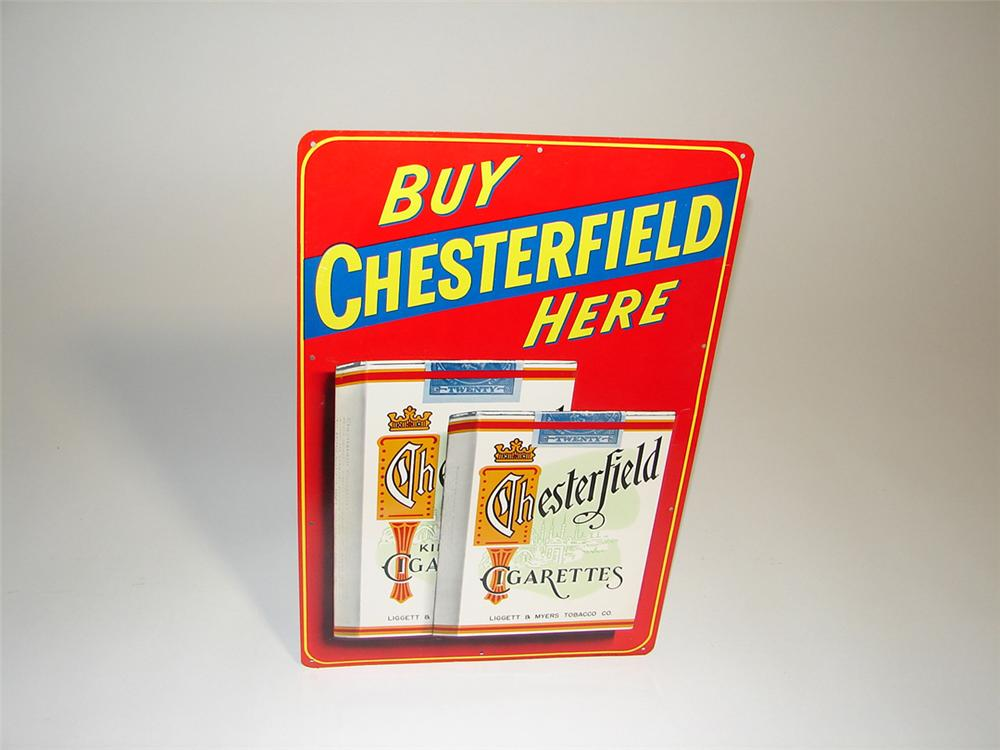 N.O.S. 1950s Buy Chesterfield Cigarettes Here single-sided embossed tin general store sign - Front 3/4 - 101925