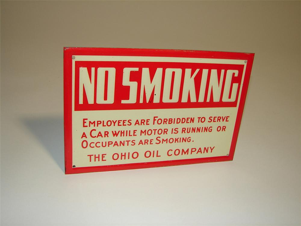 "N.O.S. 1930s Ohio Oil Company ""No Smoking"" tin painted service station fuel island sign. - Front 3/4 - 101926"