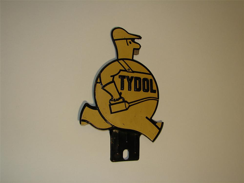 Neat N.O.S. 1930s Tydol Motor Oil license plate attachment sign. - Front 3/4 - 101928