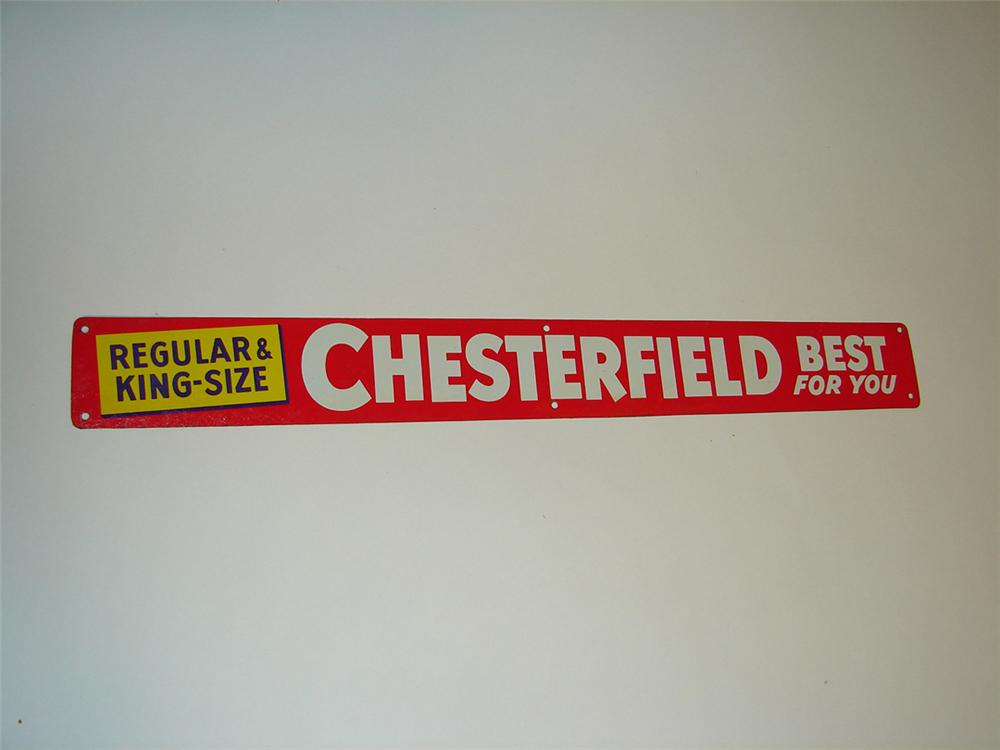 "N.O.S. 1950s Chesterfield Cigarettes ""Best for You"" tin painted general store push plate tacker sign. - Front 3/4 - 101931"