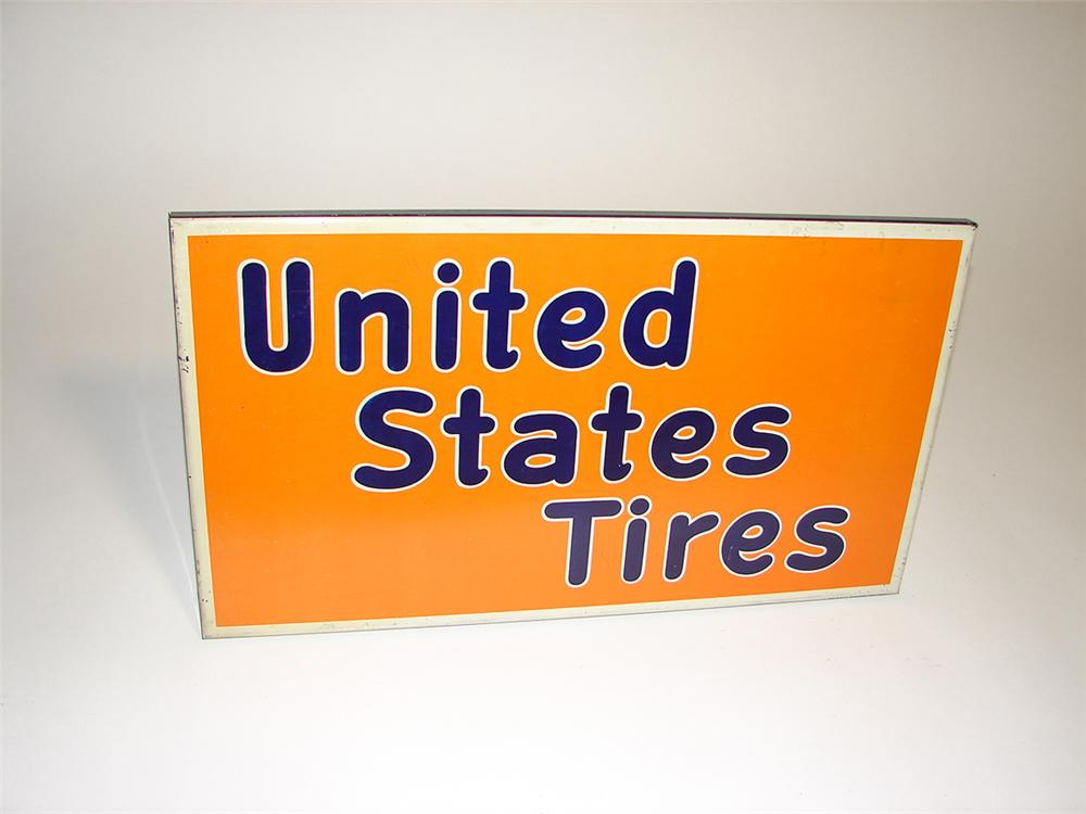 N.O.S. 1930s United States Tires tin painted automotive garage sign. - Front 3/4 - 101933