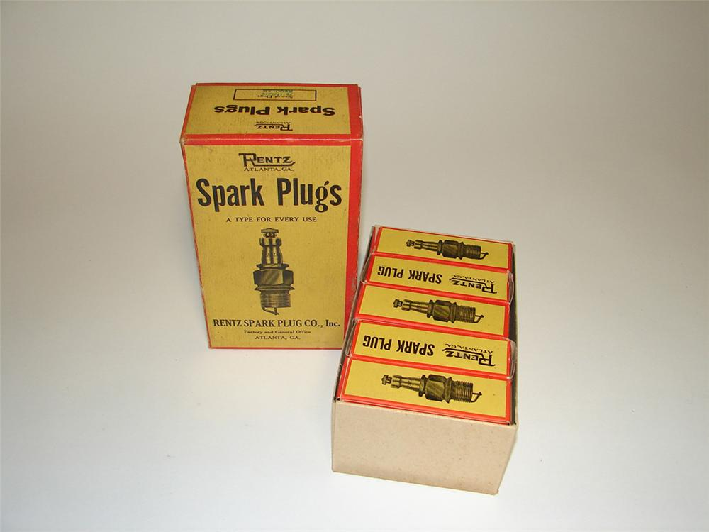 Choice 1920s Rentz Spark Plugs Automotive Garage counter-top display box filled with original unused plugs. - Front 3/4 - 101937