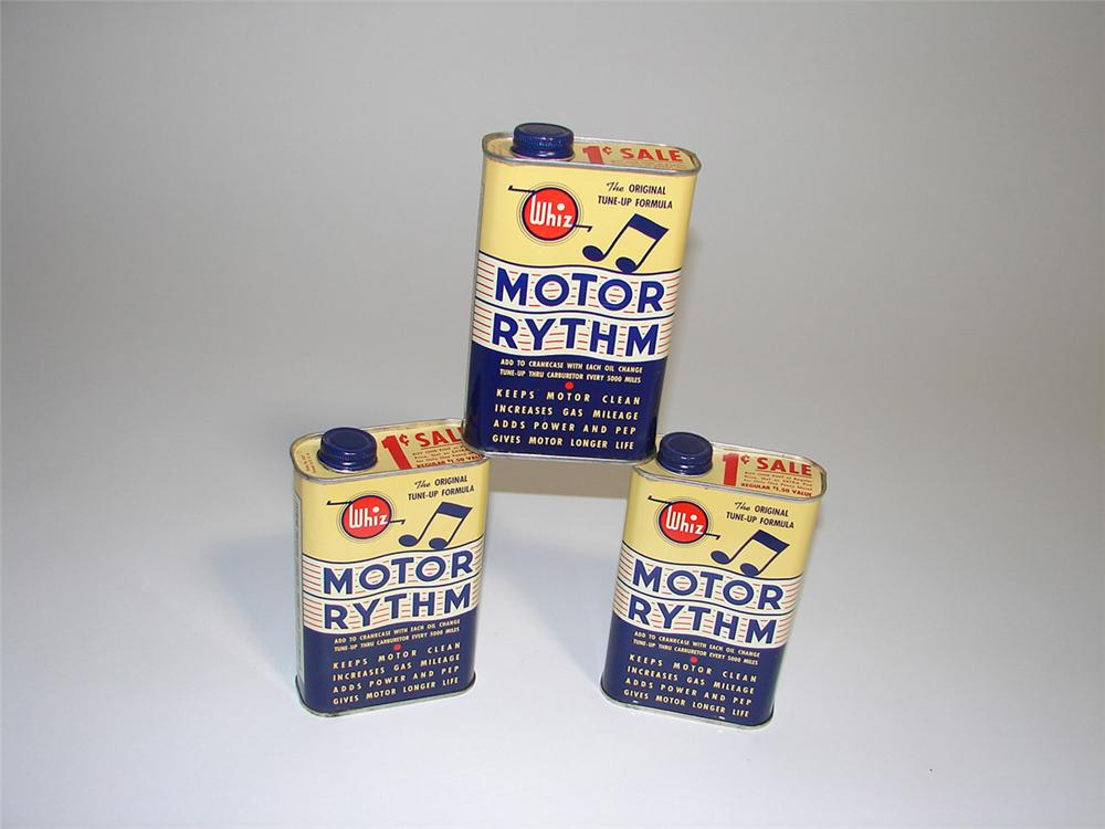 Lot of three N.O.S. Whiz Motor Rhythm Oil Additive tins. - Front 3/4 - 101943