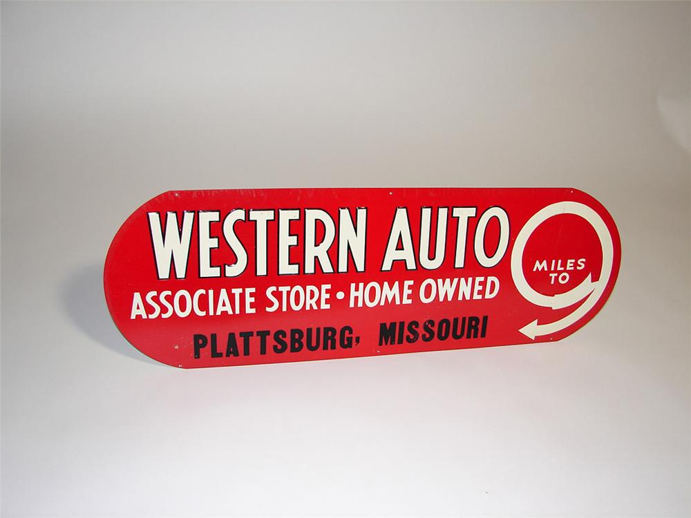 N.O.S. 1930s Western Auto embossed tin store sign. Pulled out of the original paper. - Front 3/4 - 101945
