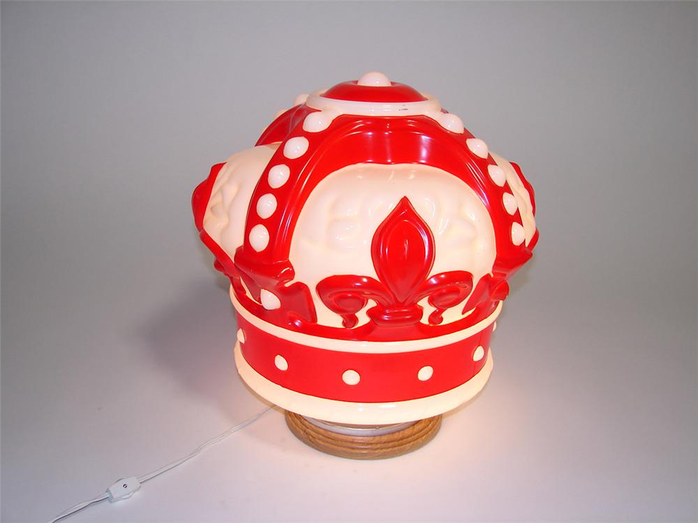 Magnificent 1930s-40s Standard Red Crown Gasoline one-piece milk glass gas pump globe. - Front 3/4 - 101946