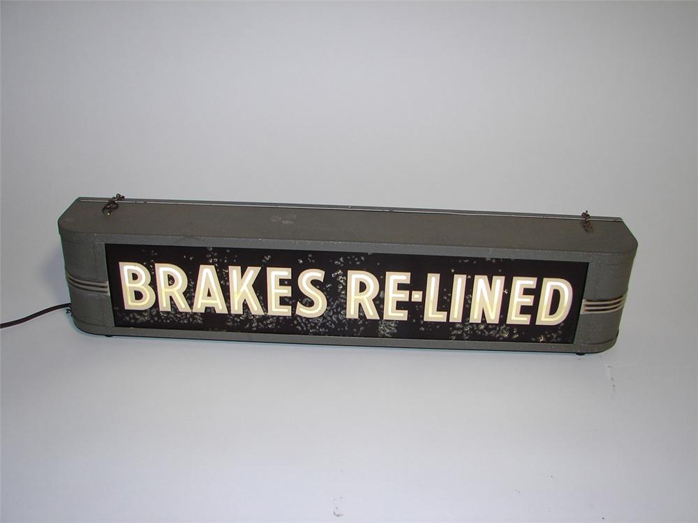 N.O.S. 1930s Brakes Re-Lined light-up dealership sign. - Front 3/4 - 101950