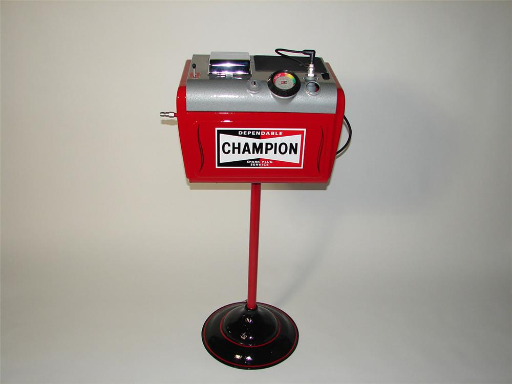 Nicely restored 1950s Champion Spark Plugs service department cleaner and servicer on stand. - Front 3/4 - 102166
