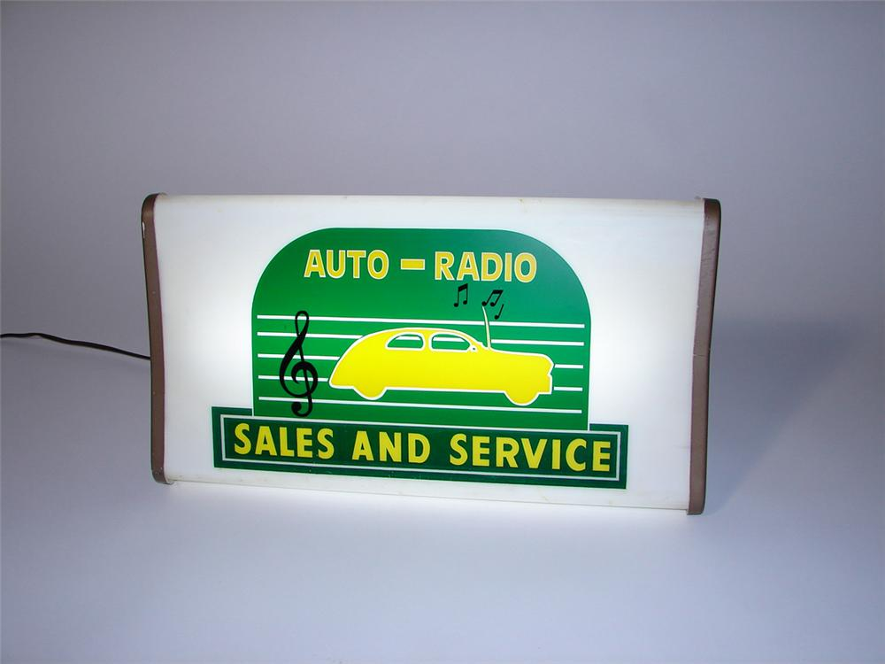 Neat 1950s Auto-Radio Sales-Service light up garage sign with fantastic period sedan graphic. - Front 3/4 - 102170