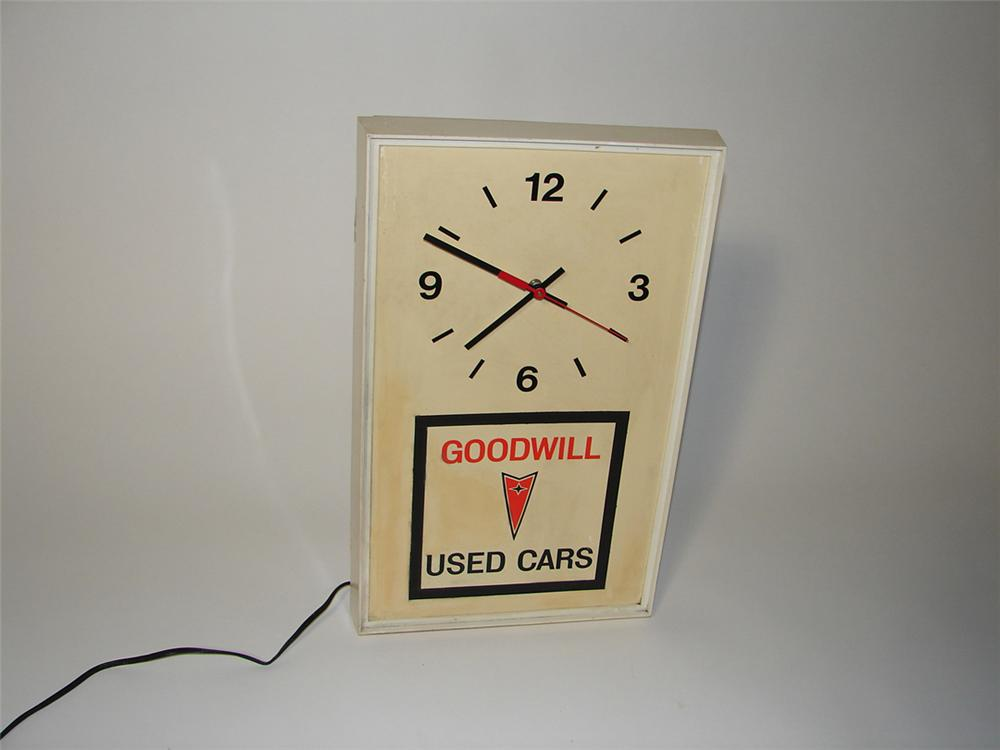 Hard to find 1960s Pontiac Goodwill Used Cars dealership showroom clock. - Front 3/4 - 102173