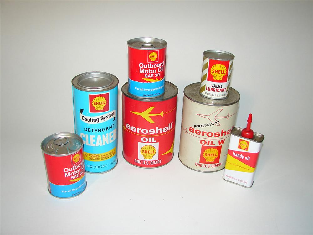 Lot of seven N.O.S. Shell Oil product tins still full. - Front 3/4 - 102174