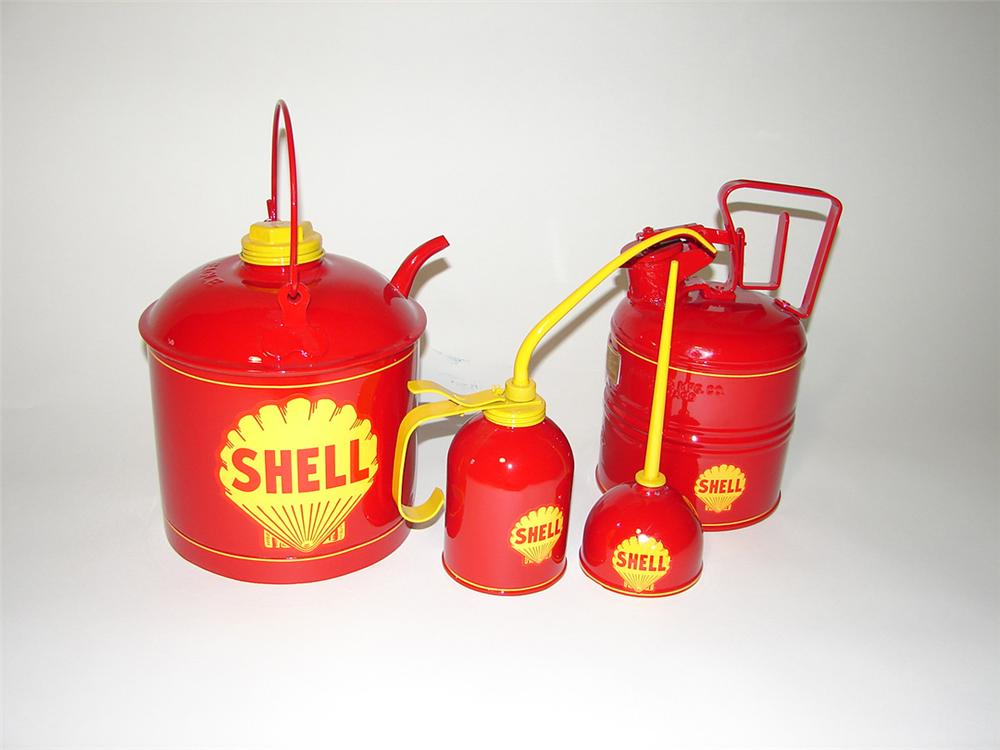 Lot of four restored circa 1930s Shell Oil service department cans. - Front 3/4 - 102177