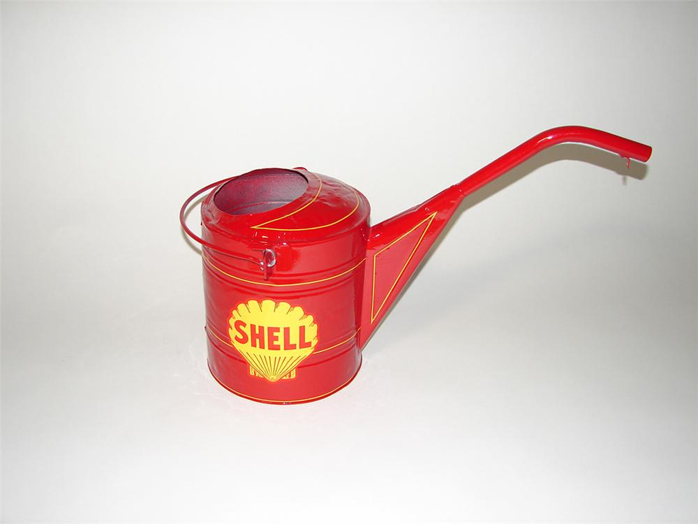 Choice 1930s restored Shell Oil service department radiator service water can. - Front 3/4 - 102178