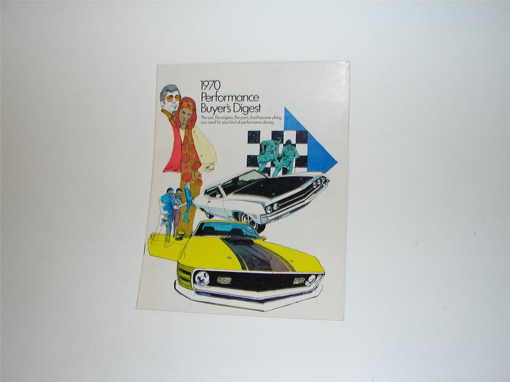 N.O.S. 1970 16 page Ford Performance Buyers Digest sales brochure for Boss 302, Mach 1, Torino Cobra. - Front 3/4 - 102182