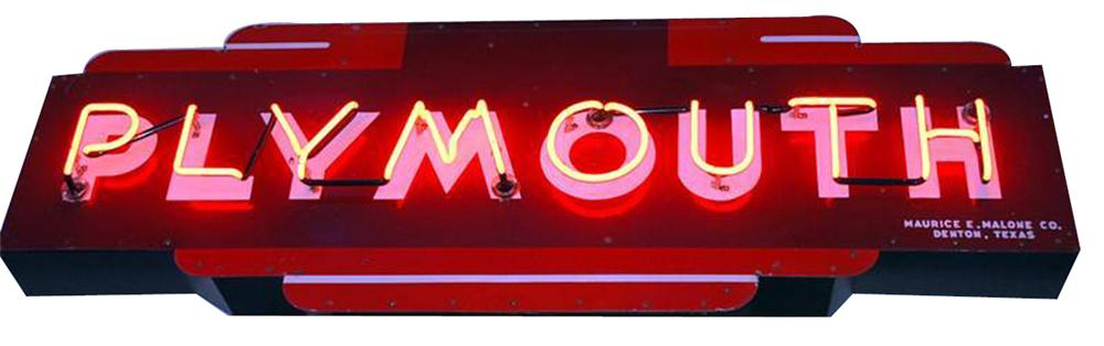 1940s-50s Plymouth Automobiles single-sided porcelain neon dealership sign. - Front 3/4 - 102185