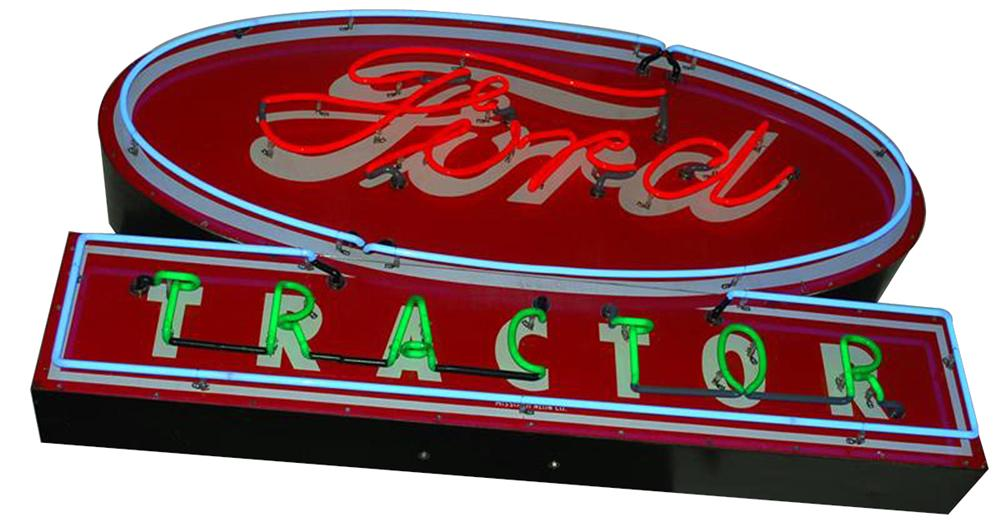 Sharp 1940s-50s Ford Tractor single-sided neon porcelain dealership sign. - Front 3/4 - 102186