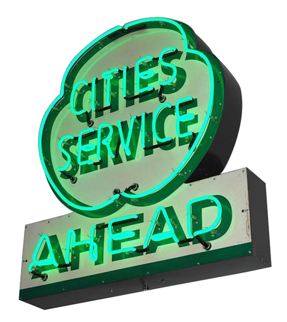 Outstanding 1950s Cities Service Ahead single-sided tin painted dealership sign with neon. - Front 3/4 - 102187