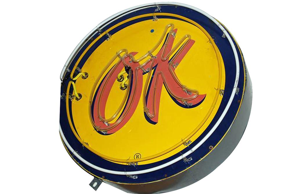 Impressive 1950s Chevrolet OK Used Cars singe-sided neon porcelain dealership sign with animated neon. - Front 3/4 - 102189