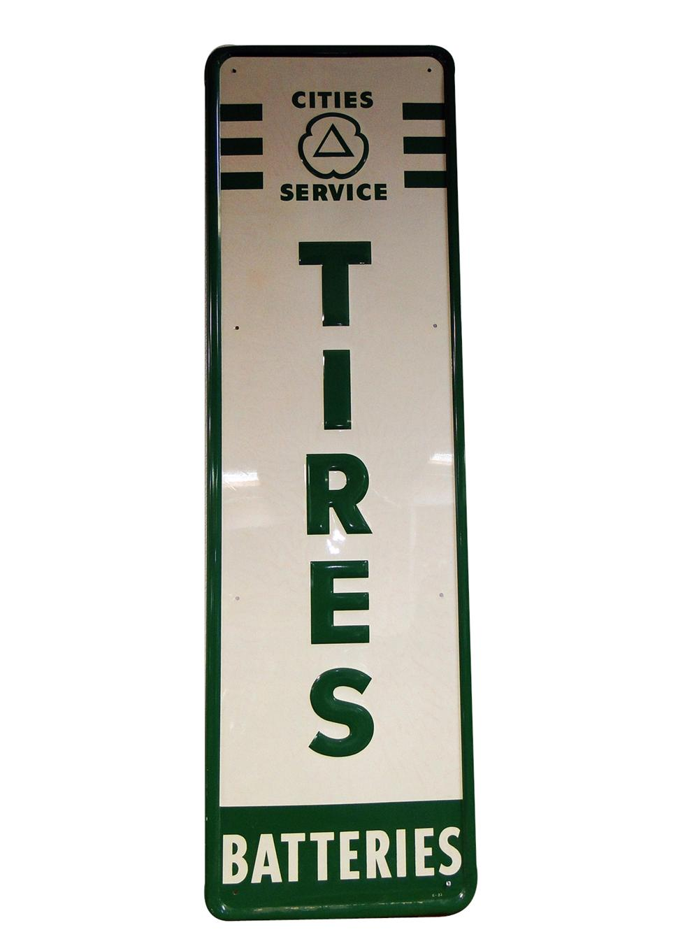 N.O.S. 1950s Cities Service Tires-Batteries single-sided vertical tin painted service station sign. - Front 3/4 - 102192