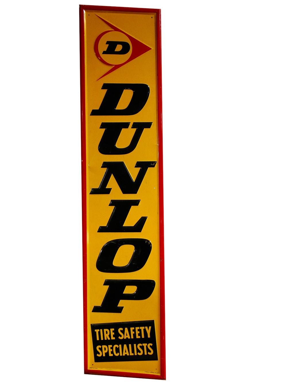 Nice N.O.S. Dunlop Tires vertical tin embossed garage sign. - Front 3/4 - 102193