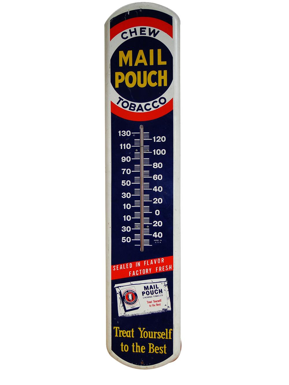 Neat Mail Pouch Chewing Tobacco over-sized tin painted general store thermometer. - Front 3/4 - 102195