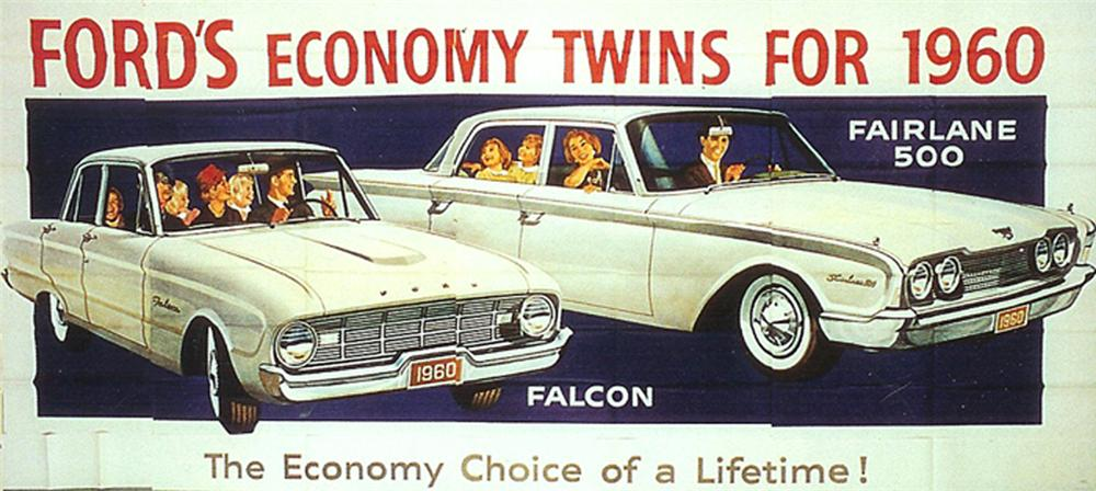 Magnificent N.O.S. 1960s Ford Falcon and Fairlane 500 automobiles roadside billboard sign. - Front 3/4 - 102201
