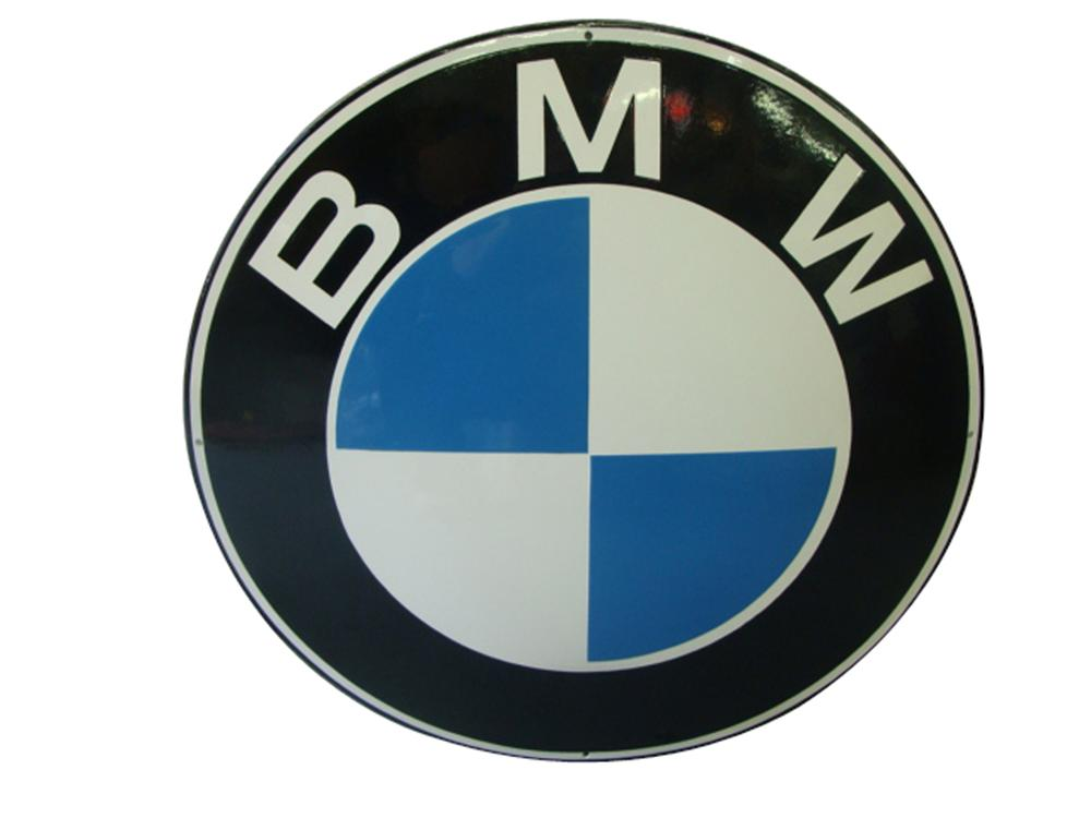 Impressive 1950s-60s BMW single-sided porcelain convexed shaped dealership sign. - Front 3/4 - 102206