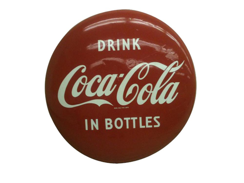 Neat 1950s Drink Coca-Cola in Bottles soda fountain porcelain button sign. - Front 3/4 - 102207