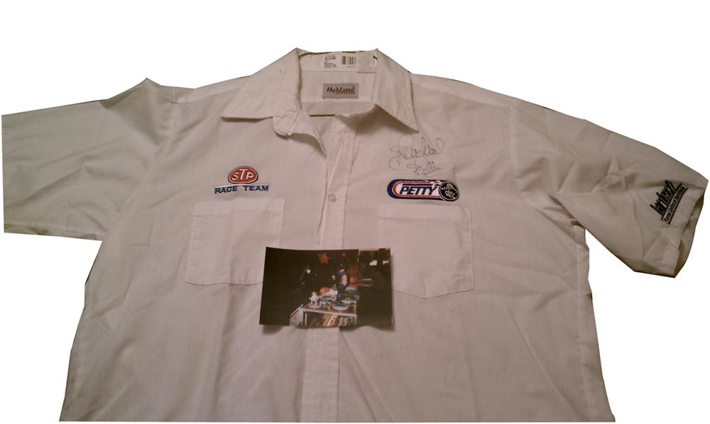 "An original Team Petty Pit Crew shirt personally autographed by Richard ""The King"" Petty. - Front 3/4 - 102209"