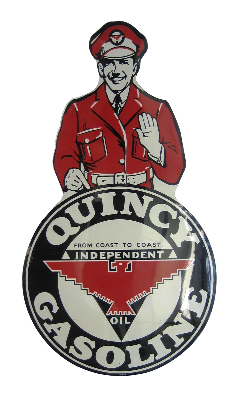 Profoundly rare circa late 1940s Quincy Independent Gasoline die-cut tin service station - Front 3/4 - 102210