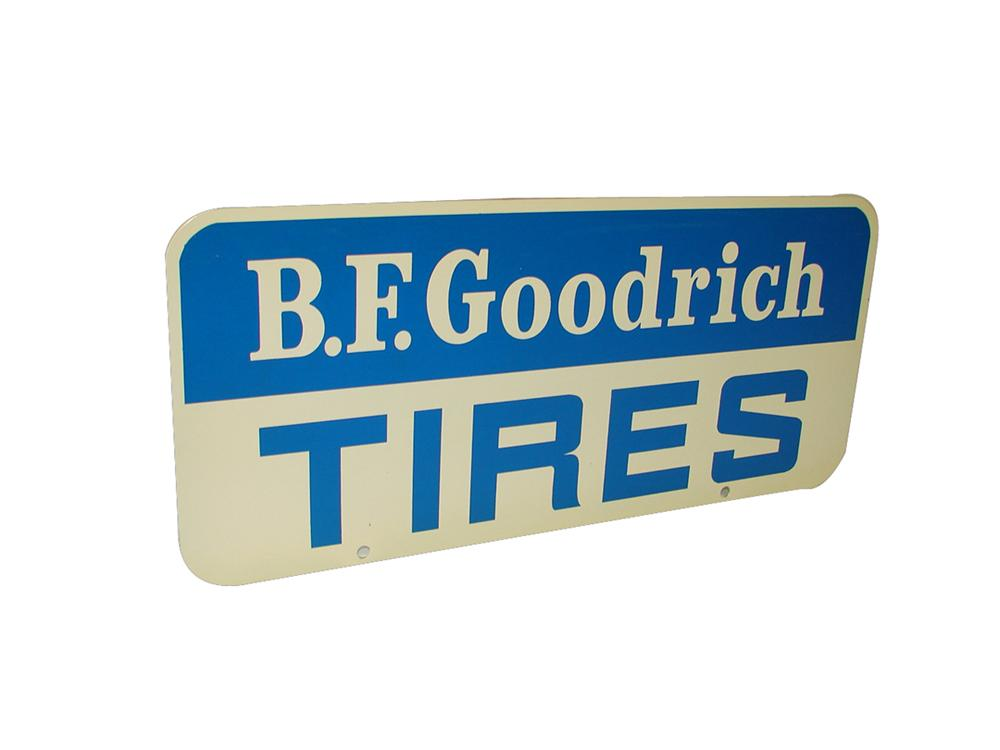 N.O.S. B.F. Goodrich double-sided tin painted garage sign. - Front 3/4 - 102222