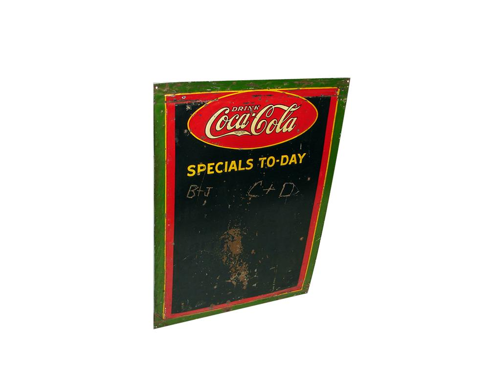 Neat 1930s Drink Coca-Cola tin painted Diner menu board. - Front 3/4 - 102226