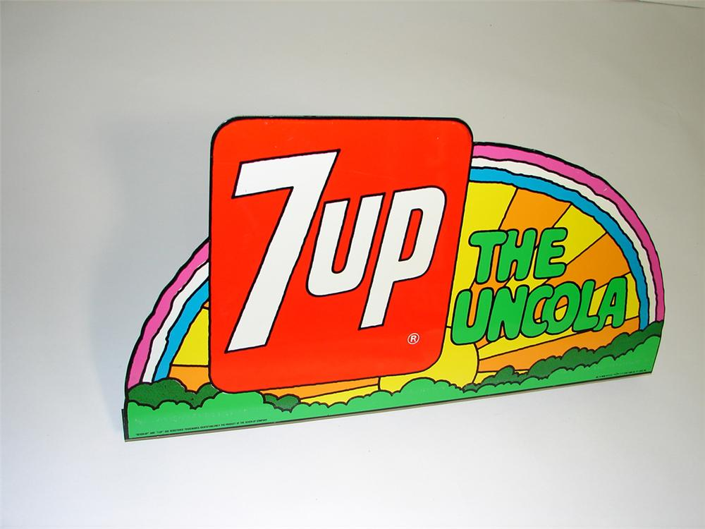 "N.O.S. late 1960s 7-up ""The UnCola"" tin painted general store sign with Peter Max graphics. - Front 3/4 - 102231"