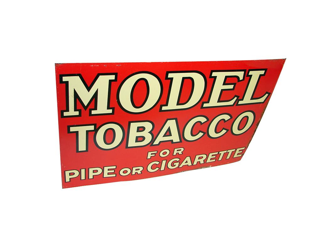 N.O.S. 1938 Model Tobacco for Pipe or Cigarette tin painted general store sign. - Front 3/4 - 102235