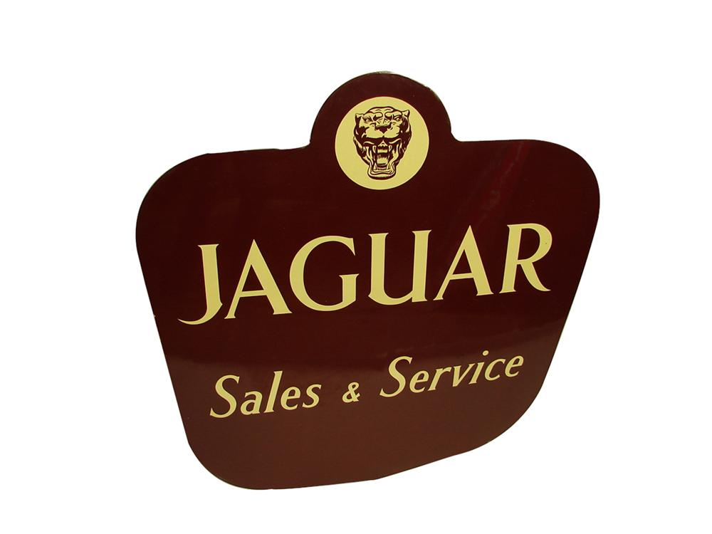 Very impressive 1950s Jaguar Sales and Service single-sided porcelain dealership sign. - Front 3/4 - 102236