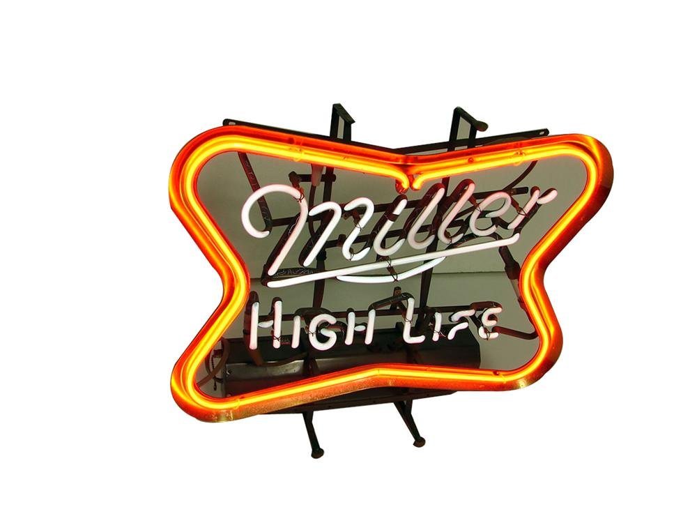 Iconic Miller High Life neon tavern sign with animated neon. - Front 3/4 - 102238