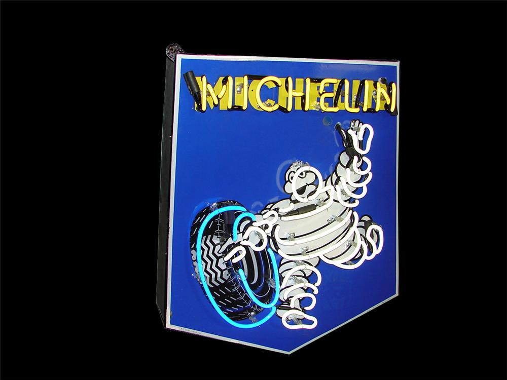 Distinctive 1950s Michelin Tires single-sided porcelain neon garage sign with Bibedum logo. - Front 3/4 - 102243