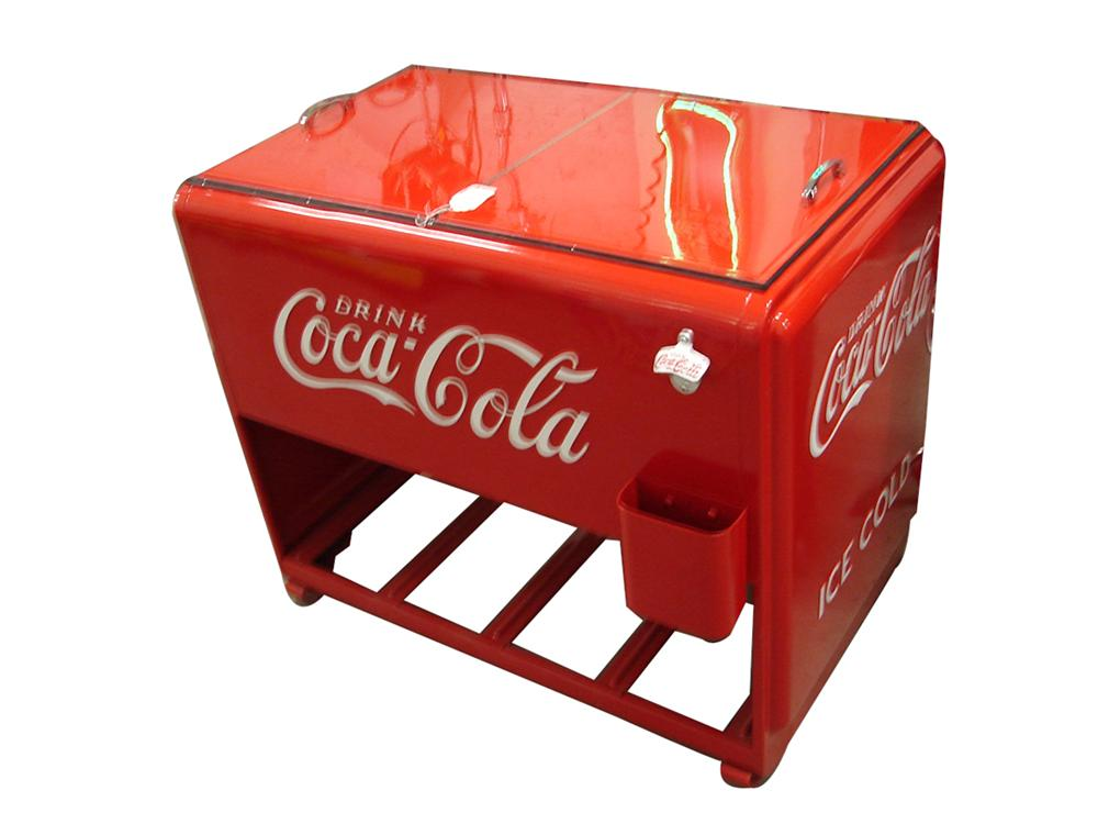 Sharp 1930s-40s Coca-Cola filling station restored soda cooler. Exceptionally restored to original. - Front 3/4 - 102246