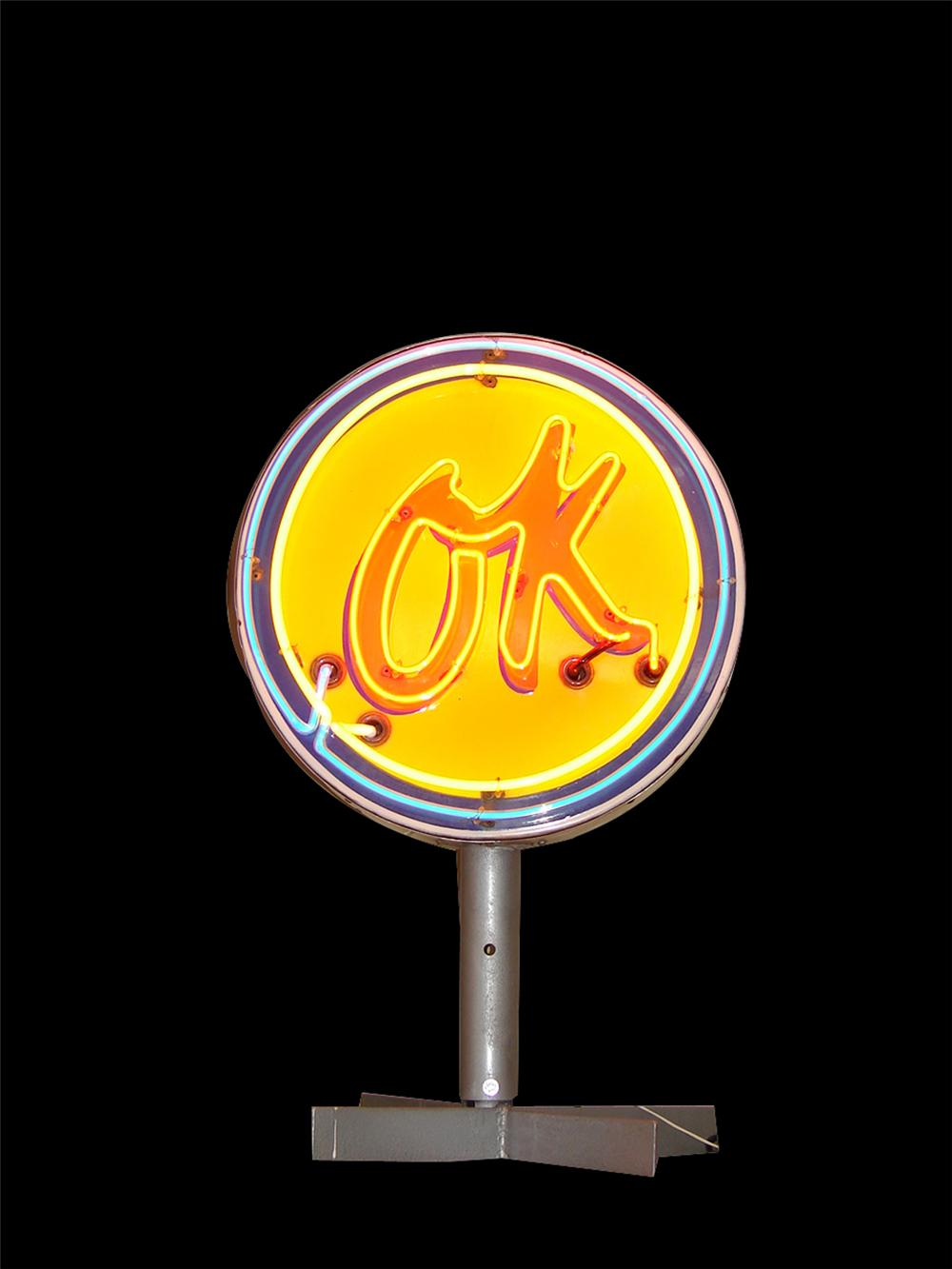 Spectacular 1950s Chevrolet OK Used Cars single-sided neon porcelain dealership sign on stand. - Front 3/4 - 102247