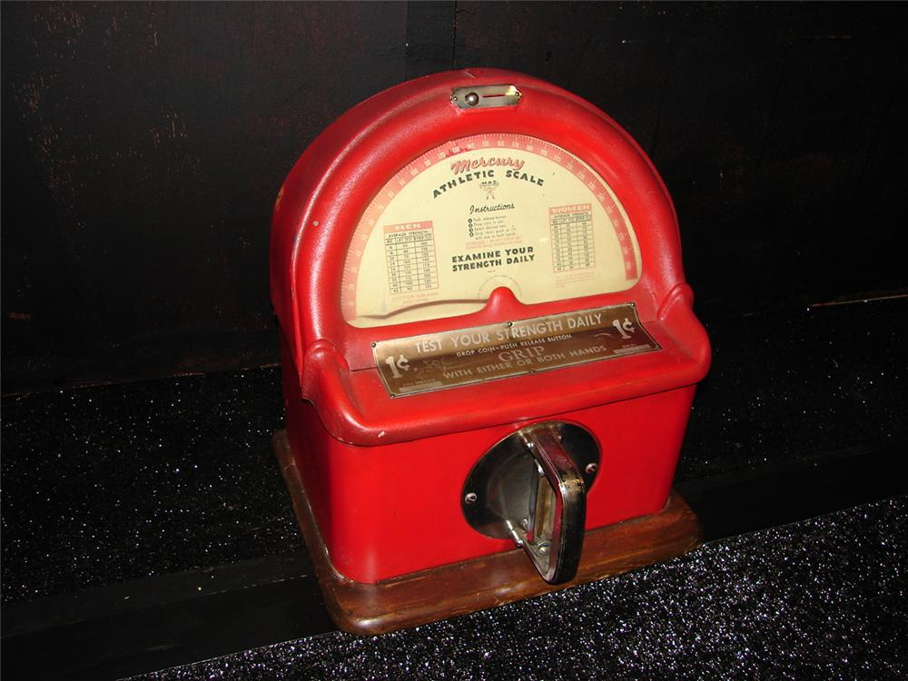 Neat 1930s Mercury one cent coin-operated counter-top strength/grip tester. - Front 3/4 - 105456