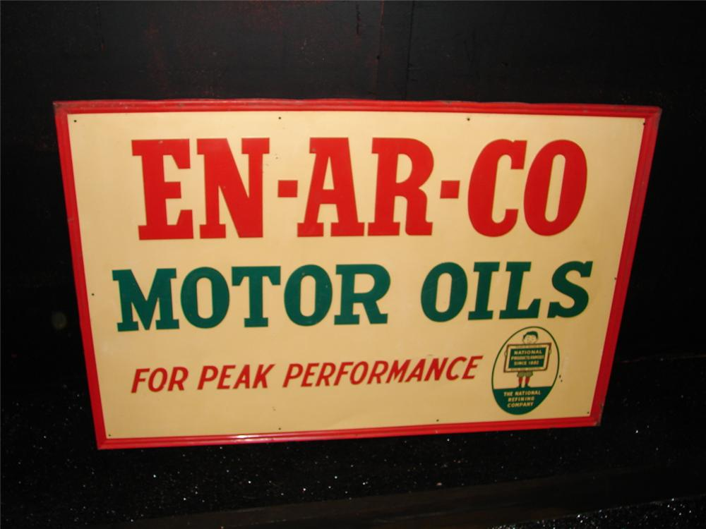 Scarce 1940s Enarco Motor Oils tin painted self-framed garage sign. - Front 3/4 - 105458