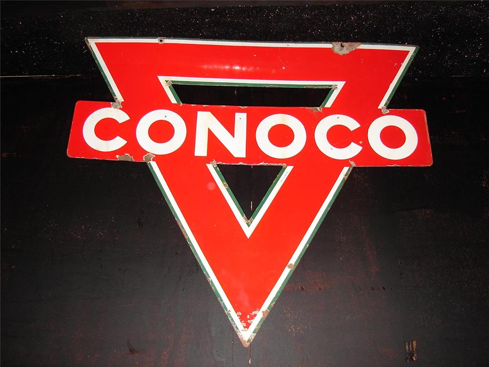 1930s-40s Conoco Gasoline double-sided porcelain service station sign. - Front 3/4 - 105459