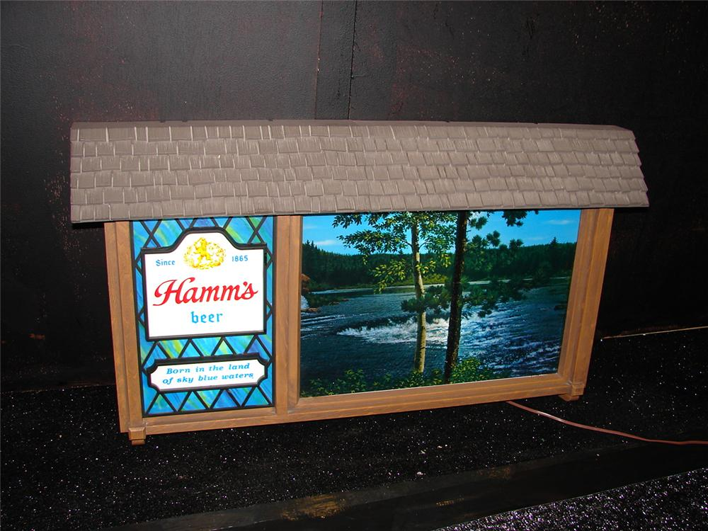 Highly desirable 1950s-60s Hamms Beer Scen-o-rama light-up tavern sign with rotating Northwoods scene. - Front 3/4 - 105467