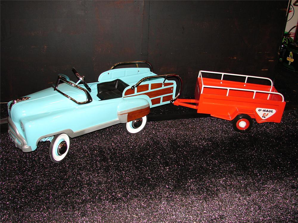 Very desirable 1940s Murray Sad Face Woodie Wagon pedal car with an original U-Haul wagon. - Front 3/4 - 105473