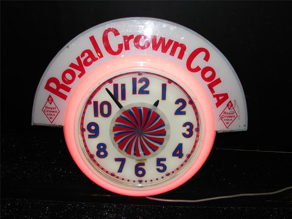 Fantastic all original 1940s-50s Royal Crown Cola neon soda fountain clock with animated spinning wheel. - Front 3/4 - 105493