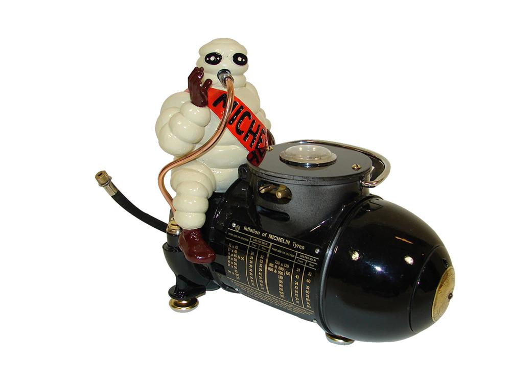 Magnificent 1930s Michelin Tires restored service station portable air compressor with cast metal Bibedum (Michelin Man)a top. - Front 3/4 - 108290