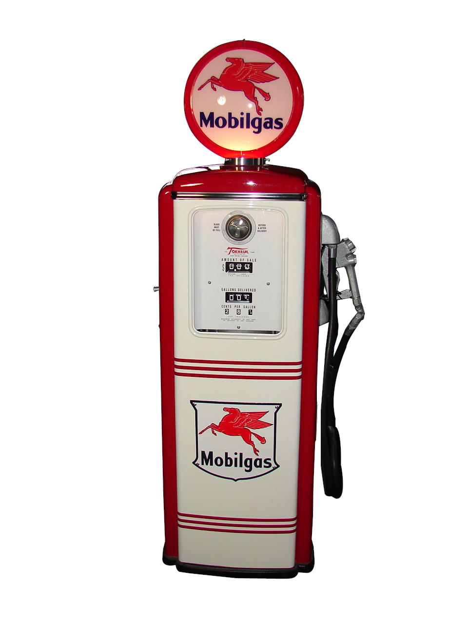 Impeccably restored 1950s Tokheim model 39 Mobil Gasoline service station pump. - Front 3/4 - 108292