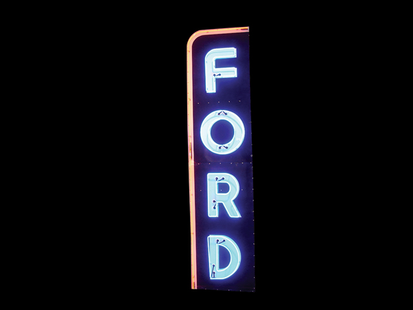 Large and impressive 1950s Ford Automobiles single-sided porcelain neon dealership sign.  Very clean! - Front 3/4 - 108293