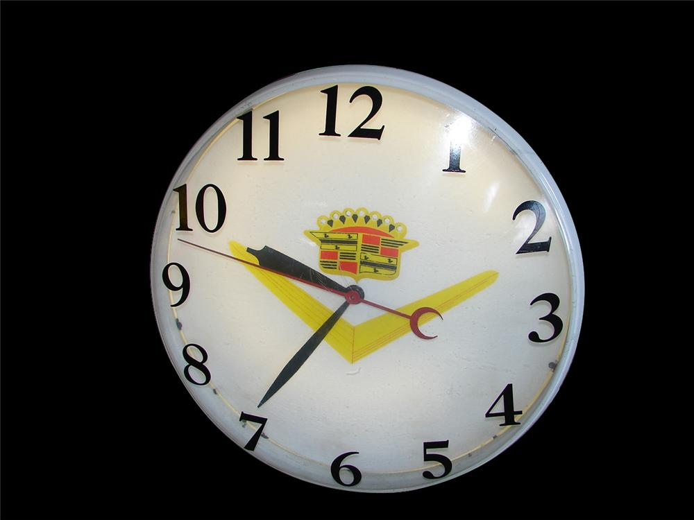 Extraordinary 1950s-60s Cadillac light-up dealership clock. - Front 3/4 - 108294