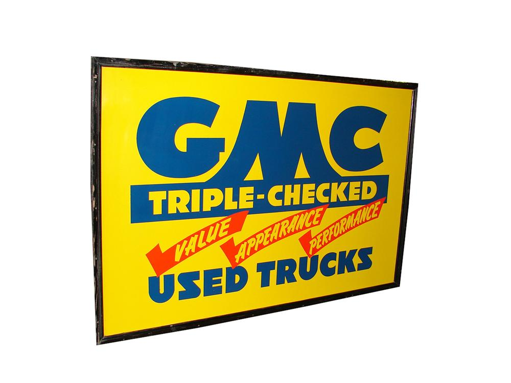 Scarce 1930s-40s GMC Triple-Checked Used Cars double-sided tin painted wood framed dealership sign. - Front 3/4 - 108295